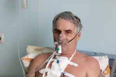 Person with oxygen mask Royalty Free Stock Images