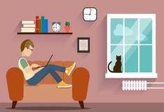 Person på datoren i ett husläge en illustration Arkivbild