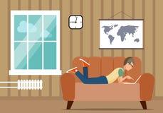 Person på datoren i ett husläge en illustration Fotografering för Bildbyråer