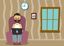 Person på datoren i ett husläge en illustration Arkivfoto