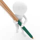 Person with pen on white Royalty Free Stock Photos