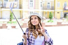 Person people hobby like want selfie mania concept. Close up portrait of excited cheerful nice glad pretty beautiful sunny cute l stock photo