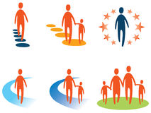 Person and People Logo. A walking person and people holding hands logo set Stock Photography