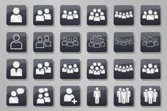 Person people team grey button set stock illustration