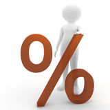 Person with percent symbol Royalty Free Stock Images