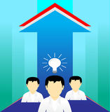 Person performance business. Abstract background blue arrow up Royalty Free Stock Photos