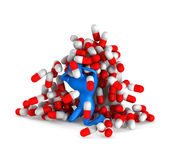 Person with pills and bottle Royalty Free Stock Photo