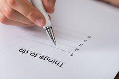 Person Planning List Of Work om te doen Royalty-vrije Stock Fotografie