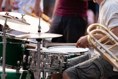 Person playing drums in band. Body or person playing drums in band royalty free stock photography