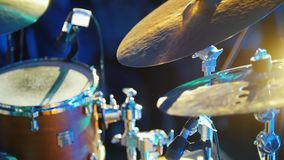 A person playing drums at the concert. Hitting the hi-hat stock footage