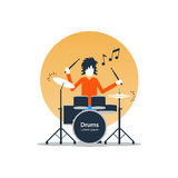 Person playing drums, music entertainment, live show. Rock music live performance, drummer playing music, rehearsal concept, vector flat illustration Stock Images