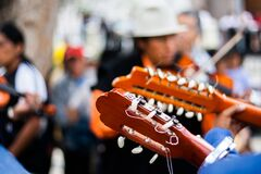 Person Playing Guitar During Daytime Royalty Free Stock Photography