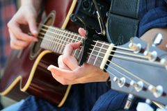Guitar playing royalty free stock images