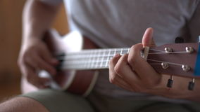 Person playing on ukulele guitar inside. Crop shot of man holding and playing acoustic ukulele guitar sitting inside stock video