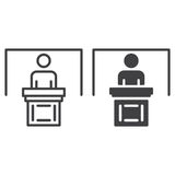 Person at podium line and solid icon. Outline and filled vector sign, linear and full pictogram isolated on white. Speaker, conference symbol, logo Stock Image