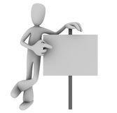Person pointing at sign. Illustration of 3D cartoon person casually pointing at blank sign against white background Stock Photography