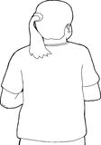 Person with Pony Tail Outline Stock Image