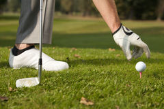 Person positioning golf ball on tee Stock Images