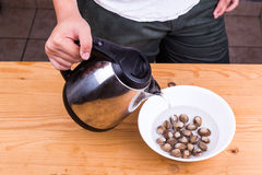 Person pouring boiling water over cockles in bowl Royalty Free Stock Image