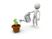 Person pouring Dollar Symbol Royalty Free Stock Image
