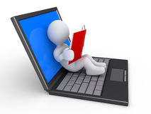 Person prefers to read a book than to use the laptop. 3d person is reading a book while relaxing on an opened laptop Stock Images