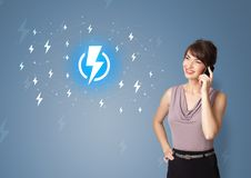 Person presenting battery life concept royalty free stock images