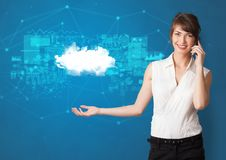 Person presenting cloud technology concept royalty free stock images