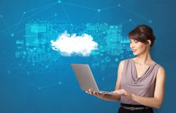 Person presenting cloud technology concept stock photos