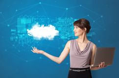 Person presenting cloud technology concept stock photography