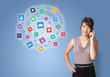 Person presenting new application icons and symbols royalty free stock photography