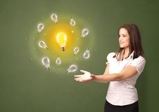 Person presenting new idea concept. Young smiling person presenting new idea concept royalty free stock photography
