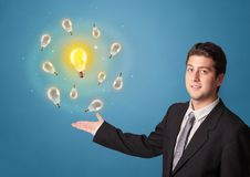 Person presenting new idea concept. Young smiling person presenting new idea concept royalty free stock images