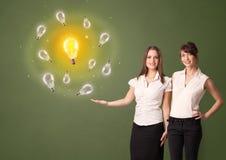 Person presenting new idea concept stock illustration
