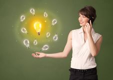 Person presenting new idea concept royalty free stock photos