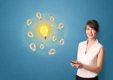 Person presenting new idea concept. Young smiling person presenting new idea conceptn stock image