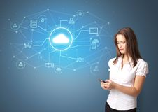 Person presenting office cloud technology concept royalty free stock photo