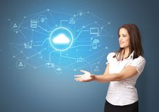 Person presenting office cloud technology concept stock photo