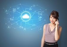 Person presenting office cloud technology concept stock image