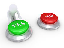 Person pressing the yes button. 3d person is about to press the Yes button rather than the No button Stock Image