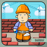 Person profession builder. Vector person character portrait. Builder portrait  on unpainted fence background. Cartoon style. Human profession icon Stock Photos