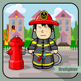 Person profession firefighter. Vector person character portrait. Firefighter portrait  on burning building background. Cartoon style. Human profession icon Royalty Free Stock Photography