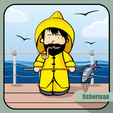 Person profession fisherman. Vector person character portrait. Fisherman portrait  on sea background. Cartoon style. Human profession icon Stock Photo