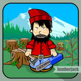 Person profession lumberjack. Vector person character portrait. Lumberjack portrait  on forest and mountins background. Cartoon style. Human profession icon Stock Image