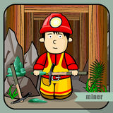 Person profession miner. Vector person character portrait. Miner portrait  on mines background. Cartoon style. Human profession icon Royalty Free Stock Photos