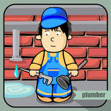 Person profession plumber. Vector person character portrait. Plumber portrait  on unpainted fence background. Cartoon style. Human profession icon Stock Image