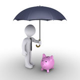 Person protecting pig money box with umbrella. 3d businessman holding an umbrella protects a pig money box Royalty Free Stock Photo