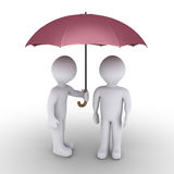 Person protecting with umbrella another one. 3d person is offering his umbrella to another one Royalty Free Stock Images