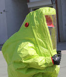 Person with protective suit to work in presence of asbestos Stock Photography