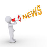 Person providing the news. 3d person is shouting NEWS through a megaphone Royalty Free Stock Photo