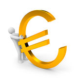 Person pull euro gold sign Stock Photo